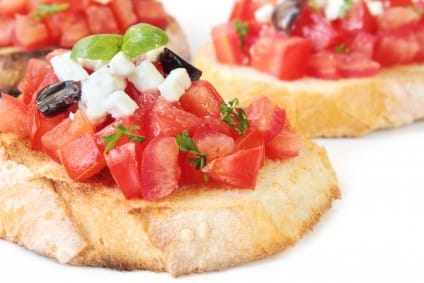 crostini with mozzarella & tomato